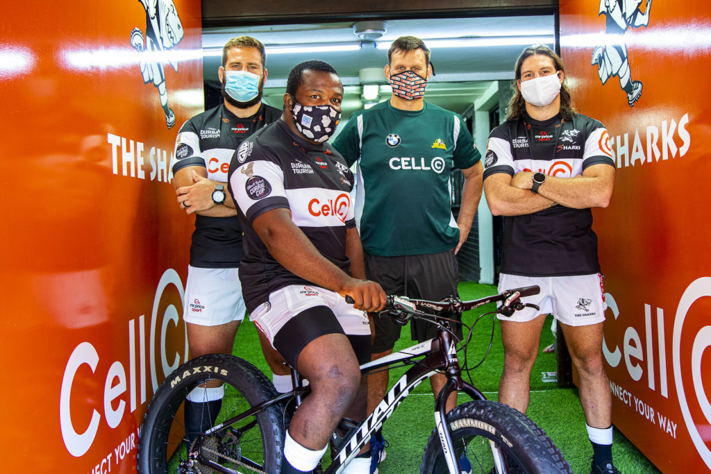 Former Sharks captain Wayne Fyvie, together with current Cell C Sharks Thomas Du Toit, Marius Louw and Ox Nche, showing off their excellent fitness levels at Kings Park Stadium, in preparation for the inaugural Mr Price Foundation Challenge on December 5 and 6.